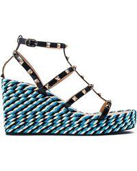 Valentino - Studded Wedge Sandals - Lyst