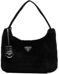 Prada Black Re-edition 2000 Shearling Handbag