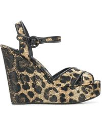 Dolce & Gabbana Leopard Print Wedge Heels - Black