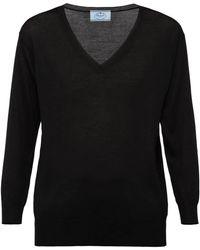 Prada Merino V-neck Sweater - Black