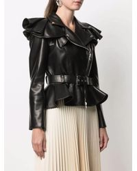 Alexander McQueen - Black Leather Ruffle-shoulder Biker Jacket - Lyst