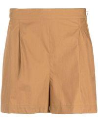 Ferragamo Brown Pleat Detail Tailored Shorts - Blue