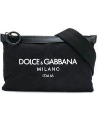 Dolce & Gabbana Palermo Tecnico Crossbody Bag In Nylon With Logo Print - Black