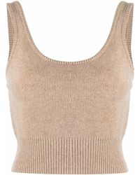 FEDERICA TOSI Beige Ribbed-detail Knit Top - Natural