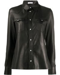 P.A.R.O.S.H. Leather Shirt - Black