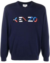 KENZO Blue Jumper With Logo