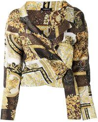 Versace Camicia crop con stampa - Marrone