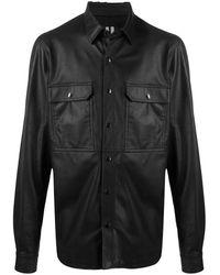 Rick Owens Black Leather Shirt