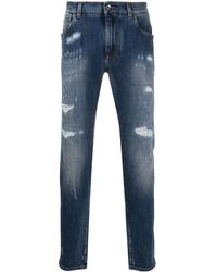 Dolce & Gabbana Light Blue Slim-fit Stretch Jeans With Rips