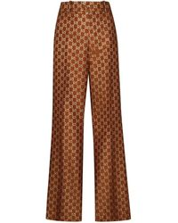 Gucci GG Jacquard Flared Pants - Brown