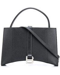 Balenciaga Hourglass East-west Tote Bag In Grained Calfskin - Black