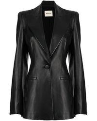 Khaite Blondie Leather Blazer - Black
