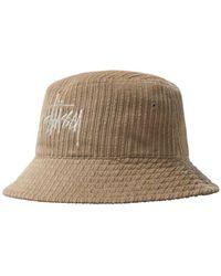 Stussy Brown Ribbed Velvet Bucket Hat With Logo