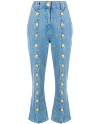 Balmain Flared Double-breasted Jeans - Blue