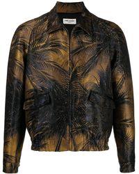Saint Laurent Brown Zipped Raglan Jacket In Jungle Damask