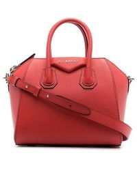Givenchy Mini Red Antigona Bag In Grained Leather - Blue