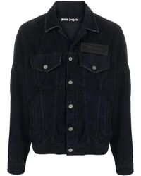 Palm Angels Black Curved Logo Corduroy Denim Jacket