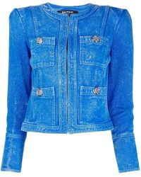 Balmain Collarless Acid Wash Denim Jacket - Blue