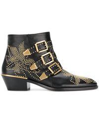 Chloé - Susanna Leather Studded Booties - Lyst
