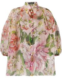 Dolce & Gabbana Camicia di seta multicolore con stampa floreale - Rosa