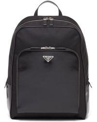 Prada Black Re-nylon And Leather Backpack