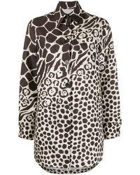 Ferragamo Camicia in lino con stampa giraffa marrone