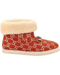 Gucci Ankle Boot With Horsebit - Red