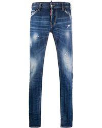 DSquared² Laser Etched Slim Fit Jeans - Blue