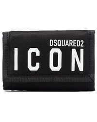 DSquared² Black Trifold Icon Wallet In Nylon With Velcro Closure