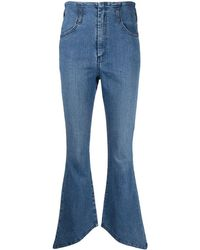 FEDERICA TOSI Asymmetric-hem Denim Jeans - Blue