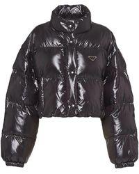 Prada Black Ciré Nylon Puffer Jacket