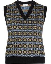 Saint Laurent Patterned Jacquard Wool Vest - Black