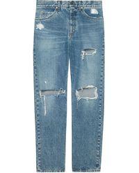 Gucci Ripped Eco Bleached Organic Denim Pant - Blue