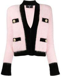 Balmain Cardigan With Gold-tone Button Closure - Pink