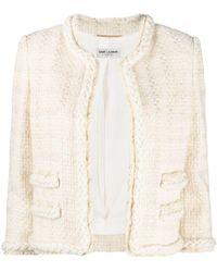 Saint Laurent Giacca corta bianca in tweed di lana e seta a quadri - Bianco