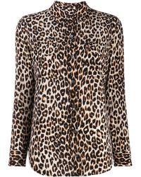 Equipment Leopard Print Slim Signature Silk Shirt - Multicolour