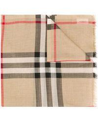Burberry Sciarpa leggera in lana e seta con motivo tartan - Neutro