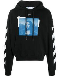 Off-White c/o Virgil Abloh Felpa nera con cappuccio e stampa grafica Mona Lisa - Nero