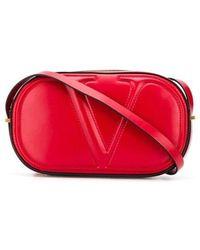 Valentino Garavani Vlogo Walk Calfskin Crossbody Bag - Red
