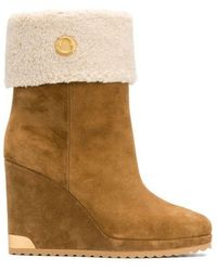 Moncler Zannie Wedge Boots - Brown