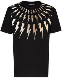 Neil Barrett Fair-isle Thunderbolt Jersey T-shirt - Black