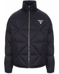 Prada Black Downjacket With Logo