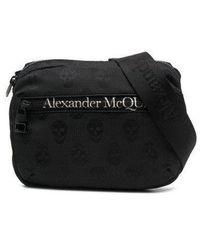 Alexander McQueen Marsupio Urban in nylon Biker Skull con logo - Nero