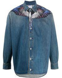 Marcelo Burlon Wings Print Denim Shirt - Blue