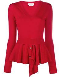 Alexander McQueen Peplum-hem V-neck Sweater - Red