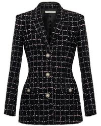 Alessandra Rich Black Checked Tweed Bouclé Single Breasted Jacket
