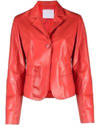 DROMe Red Polished-finish Cropped Jacket