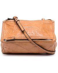 Givenchy Brown Mini Pandora Bag In Aged Leather