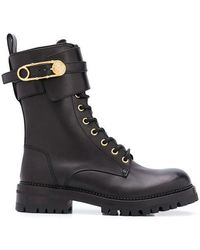 Versace Safety Pin Leather Boots - Black