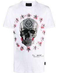 Philipp Plein T-shirt Stars and Skull a maniche corte con girocollo - Bianco